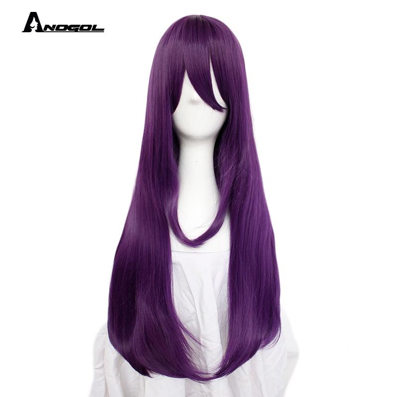 ANOGOL Doki Doki Literature Club Yuri Monika Natsuki Sayori DDLC High Temperature Fiber Synthetic Cosplay Wigs For Halloween