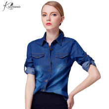 New 2017 Spring/Autumn Girls Fashion Loose Denim Women Blouses Long Sleeve Shirts Women Tops Jeans Blouse Female Casual Clothing