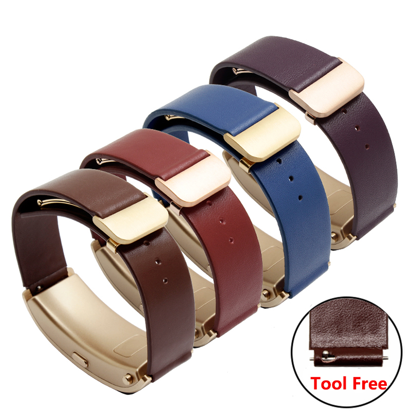 Hot Sale Blue Purple Leather Strap Fit Huawei B3 Replacement Genuine Leather Wristband Deployment Buckle Smart Watch Accesso
