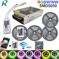 5050 RGBW/WW LED Strip Light WIFI Controller Neon Lamp 20M Stripes Decor Flexible Tape tira fita Diode Ribbon DC 12V Adapter Set