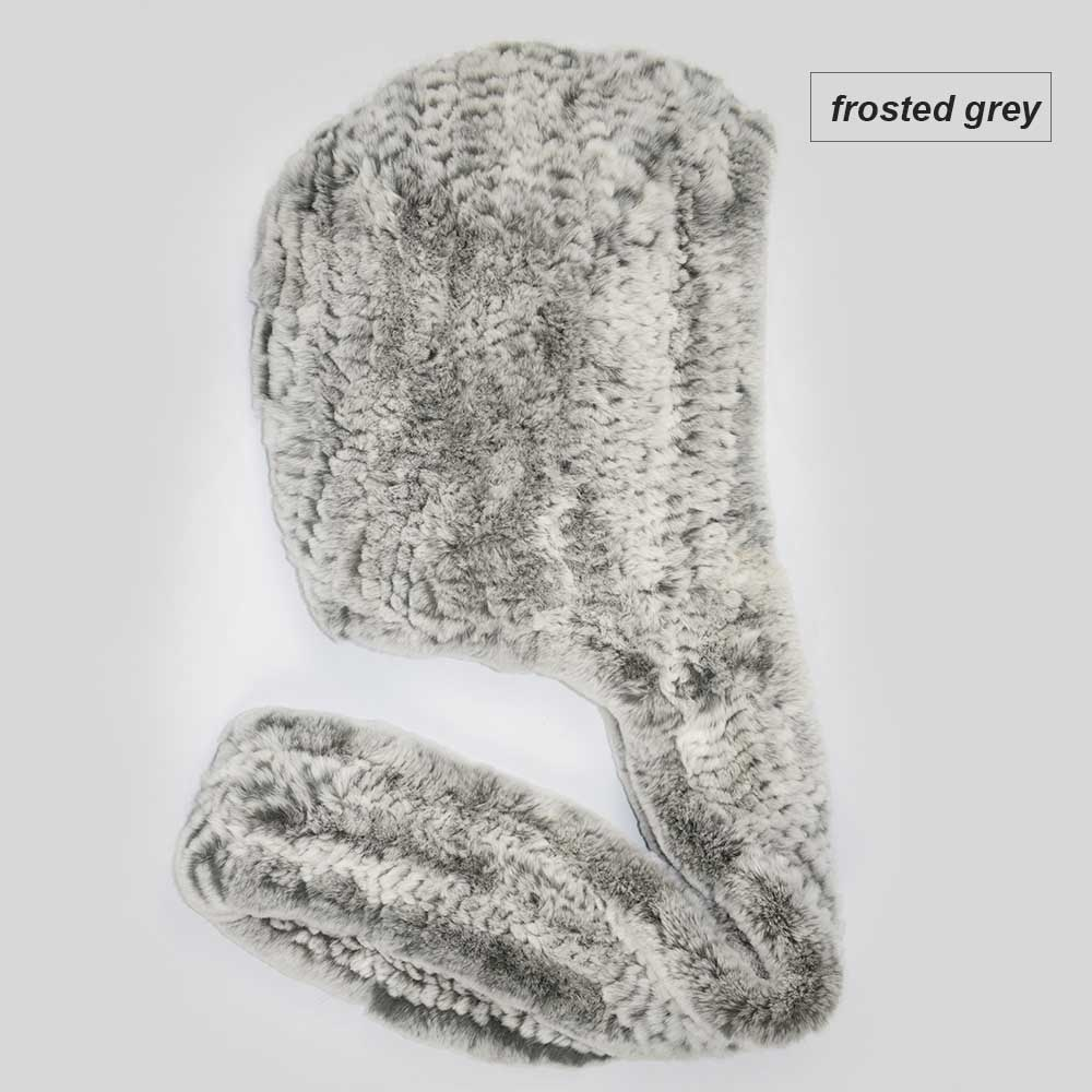knit rex fur scarf frosted grey