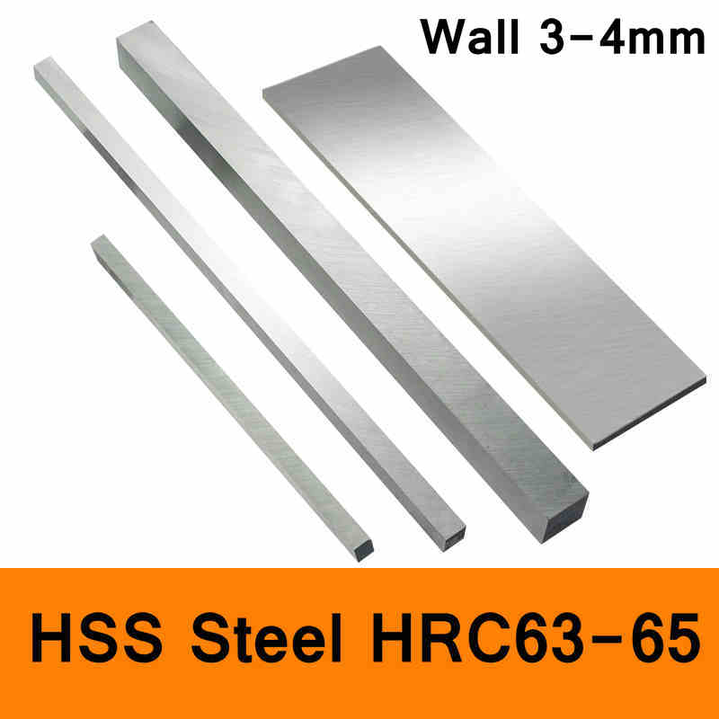 HSS Steel HRC63 to HRC65 High-strength Steel Plate Turning Tool High Speed Steel HSS Plate Sheet DIY material Wall 3mm 4mmHSS Steel HRC63 to HRC65 High-strength Steel Plate Turning Tool High Speed Steel HSS Plate Sheet DIY material Wall 3mm 4mm