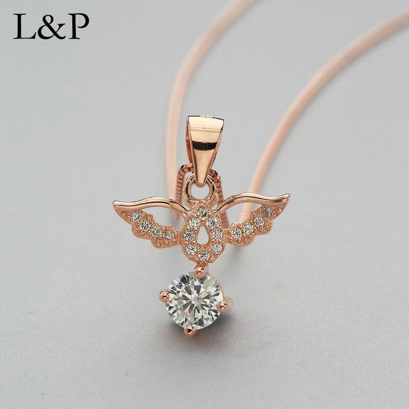 2019 nouveau collier pendentif ailes couleur or Rose pour femmes, 100% 925 collier et pendentifs en argent bijoux fins pour la vente en gros