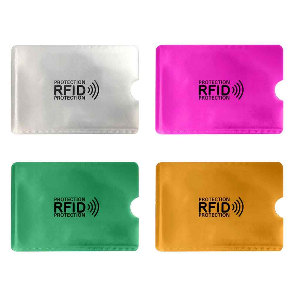 2Pcs Anti Rfid Reader Lock Wallet Locking Id Cards Credit Holder Bank Protective Aluminum Metal Card Case Support NFC 6.2*9.2cm