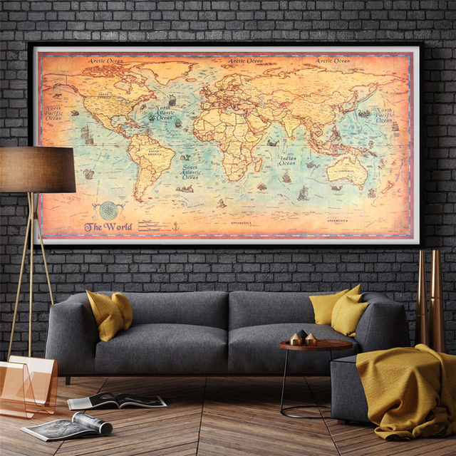 Vintage world map canvas print or paper prints oil painting retro vintage world map canvas print or paper prints oil painting retro poster world ocean old maps gumiabroncs Images