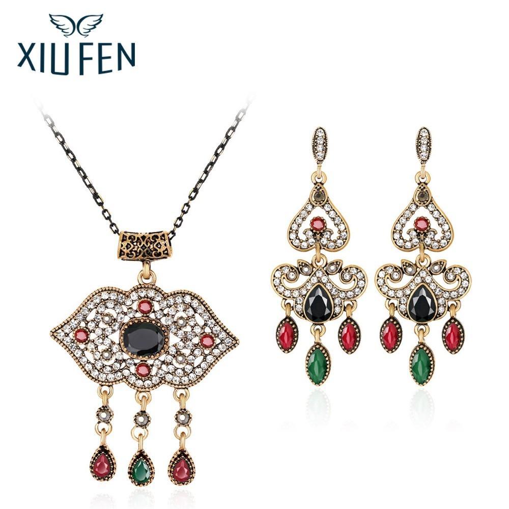 XIUFEN Women Hot Selling Jewelry Sets Retro National Style Exquisite Rhinestone Studded Longevity Lock Necklace Earring ZK30
