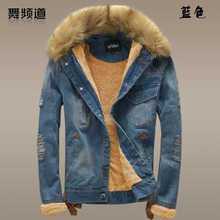 2016 New Winter Coat Men Fur Collar Thicken Fleece Denim Jacket Fashion Male Slim Jeans Parks Jacket Plus Size A3763