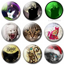 30 MM Cute Cat Fridge Magnet Souvenir Glass dome Decorative Refrigerator Removable Glowing At Night Magnetic Stickers Decor(China)