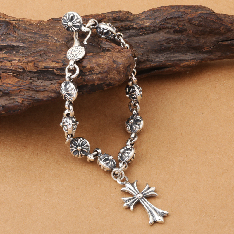 Wholesales BrS925 Sterling Silver Silver Cross Cross Men Cross Cross Bracelet cross cross at0125 15