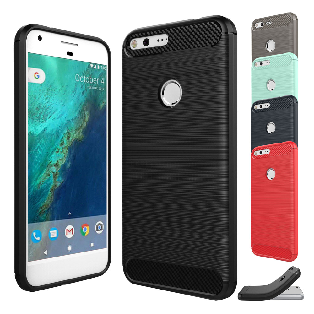 For Google Pixel Cover 5.0 Inch Case Silicone Soft TPU Brushed Carbon Fiber Texture Protective Case For Google Pixel Cover