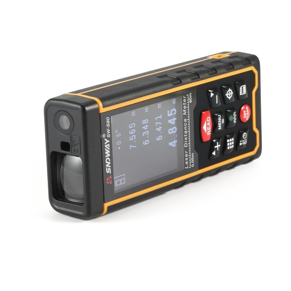 SNDWAY 80M 120M Handheld Laser Distance Meter Range Finder LCD Laser Tape Measure Distance Tool RangefinderSNDWAY 80M 120M Handheld Laser Distance Meter Range Finder LCD Laser Tape Measure Distance Tool Rangefinder