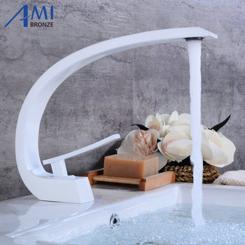 White Painted Newly Art Basin Faucet Brass Spout Bathroom Faucets Hot Cold Mixer Tap Waterfall Faucets Crane 9126W