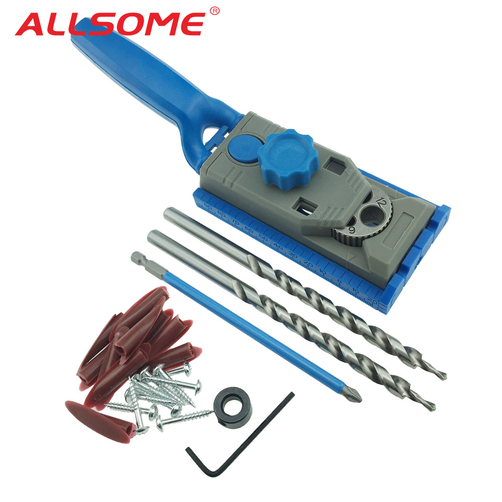 Pocket Hole Jig System Drill Guide Wood Doweling Joinery Screws Clamping Jig Woodworking Drilling + 2PC Drill Bit
