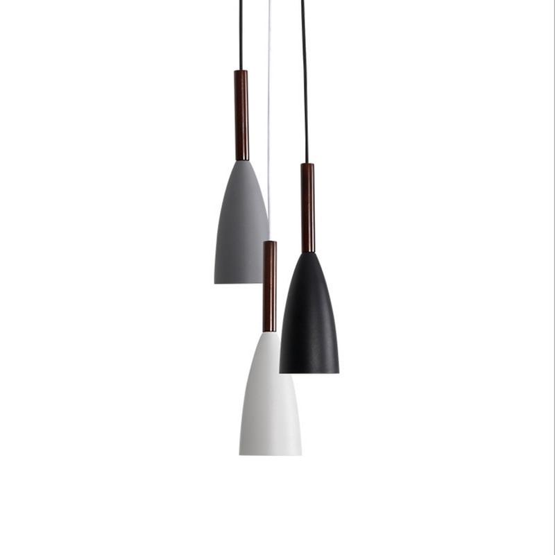 Nordic industrial hanging lamp home office decoration aluminum wood long slim pipe pendant lighting