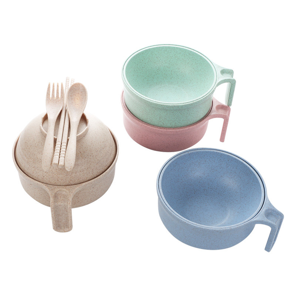 1pc Wheat Straw Korean Ramen Noodles Salad Rice Fruit Bowl Household Tableware Cutlery Cubiertos With Lid