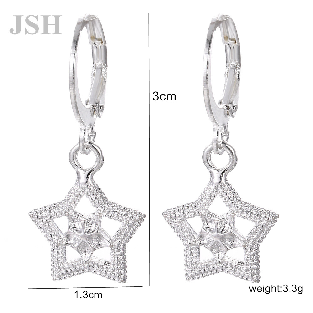 wholesale , For Lady women silver color earrings charms Hoop wedding hook CUTE Bohemia fashion classic jewelry JSHLE044 2