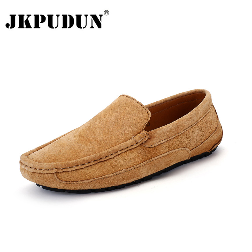 JKPUDUN Fashion Moccasins Men Loafers High Quality Genuine