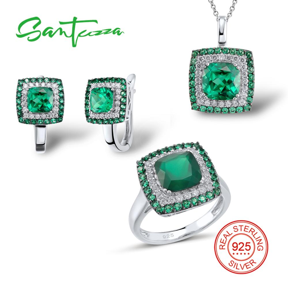 SANTUZZA Silver Jewelry Sets for Women Natural Green Stones White CZ Ring Earrings Pendant Set 925