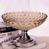 high quality golden plated dried fruit plate snack tray home nut bowl ktv Fruit tray storage Dish Advanced Crystal glass plate