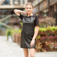 BPfashion Europe Style Spell Short Sleeve Faux Leather Black Dress