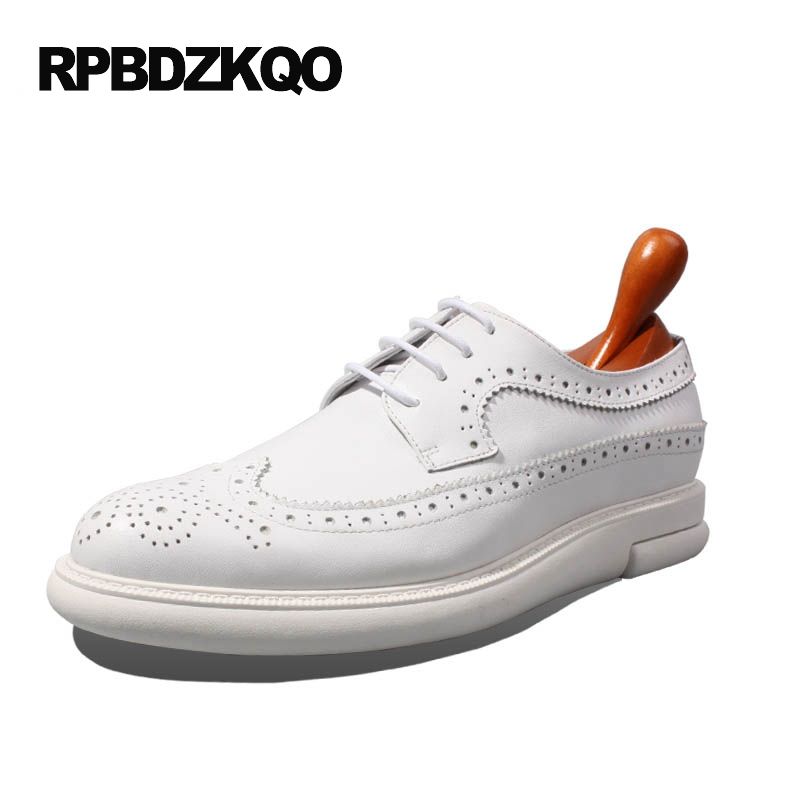 Dress Wedding Party Wingtip Prom Elegant Real Leather Brogue White Breathable 2017 New Men Flats Shoes Hot Sale Stylish Autumn stylish tiny flowers print wedding casual party white tie for men