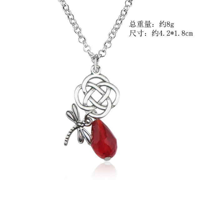 Fashion Movie Jewelry Outlander Dragonfly Necklace Crystal Hollow-out Knot Pendant&Necklace