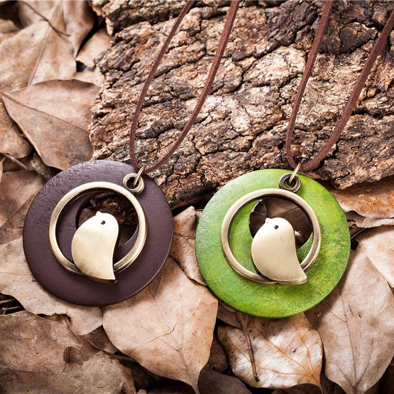 kvinna smycken uttalande halsband & berlocker, fågel trä pärla - Märkessmycken - Foto 5