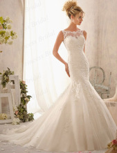 Discount Fishtail Boat Neck Sleeveless Sweep Train Tulle Wholesale Factory Price Wedding Gown With Appliques ML023