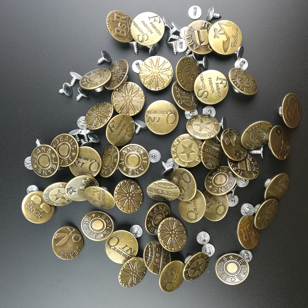 New Arrive 50sets/lot 20mm Bronze Fashion Metal Jeans Button for Garment Pants Sewing Clothes Accseeories Handmade
