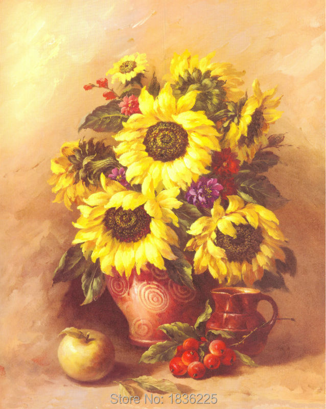 Handmade Canvas Oil Painting Painted Flower Sunflower Oil With Table