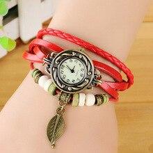 Women Watches Leather Bracelet Watch Woman Dress Vintage leaf WristWatch