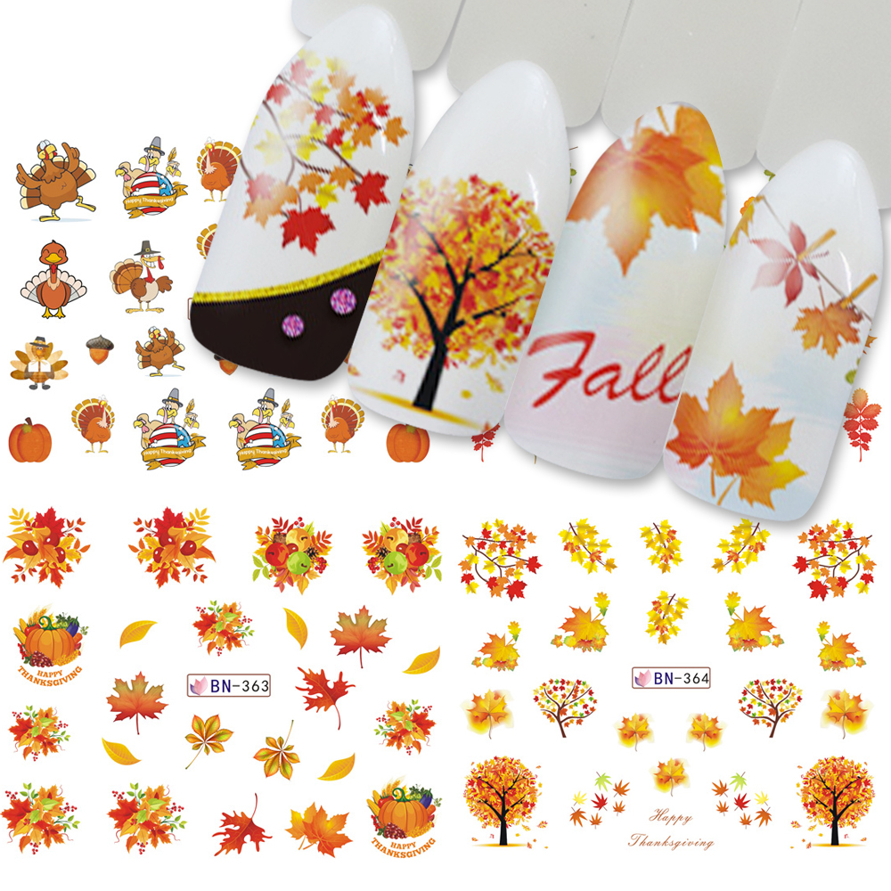 Thanksgiving Day Autumn Water Nail Sticker