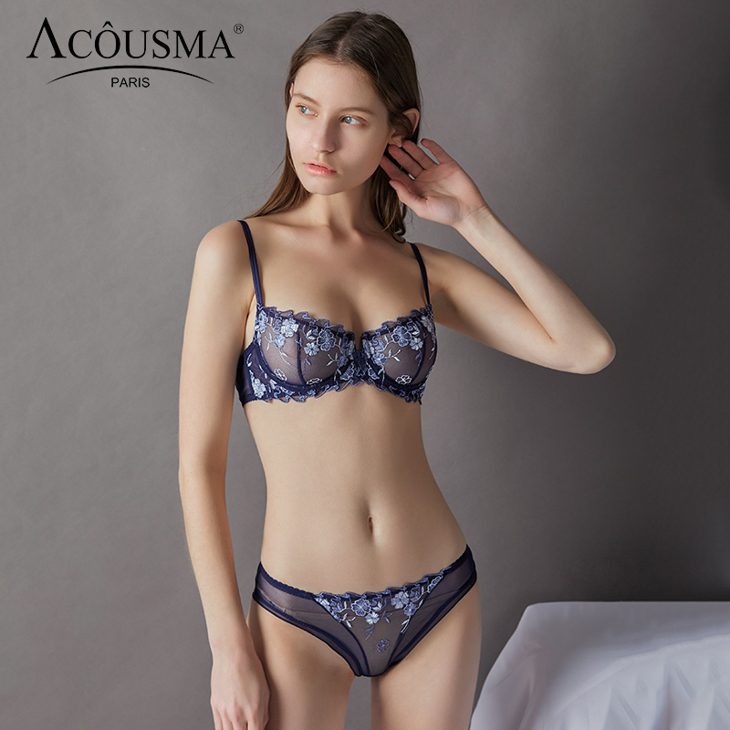 ACOUSMA Women   Bra   Lace Embroidery   Brief   Panty   Sets   Ultrathin Sexy Underwear Transparent Panties Lingerie Brassiere See through