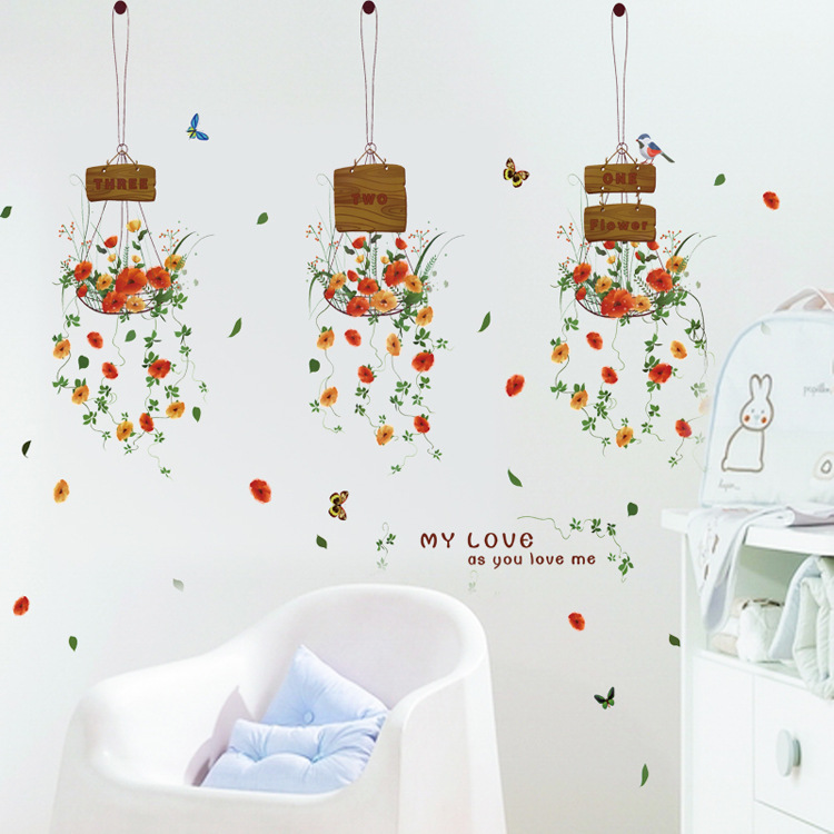 Removable Wall Stickers Aesthetic Potted Hanging Basket Living Room Bedroom Decoration Shop Window In From Home Garden On