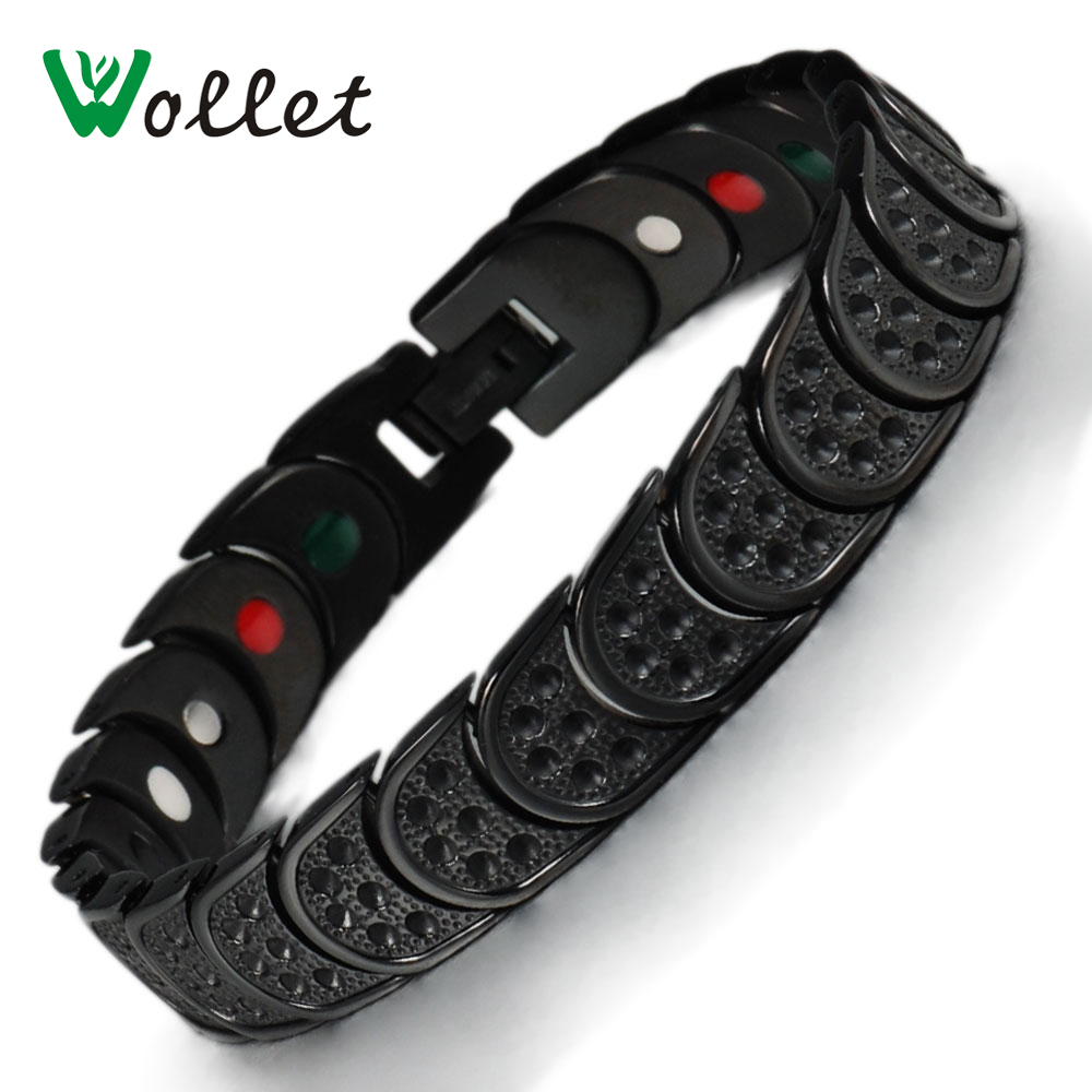 Wollet Mens Black 19cm Healing Energy Infrared Tourmaline Germanium Bio Magnetic Pure Titanium Bracelet Bangle For Men