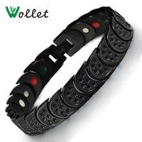 Men S Black 19cm Healing Energy Infrared Tourmaline Germanium Bio Magnetic Pure Titanium Bracelet Bangle For