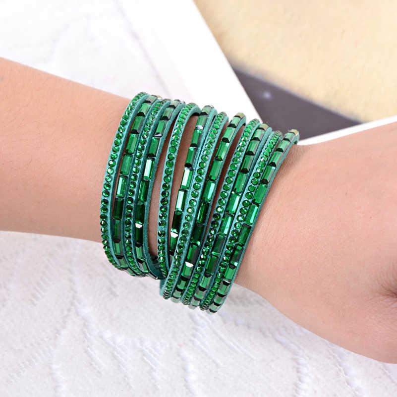 Кожаные браслеты с защелками женские ювелирные изделия 2018 браслет с кристаллами из горного хрусталя Оптовая Продажа Многослойные браслеты для женщин