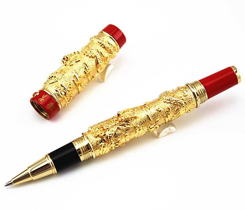 JINHAO rare golden double Dragon pattern roller ball pen Luxury stationery school office supplies brand writing gift pens latest design jinhao dragon and phoenix carving roller ball pen stationery luxury metal writing gift art collection pens
