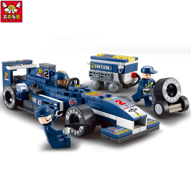 Children Educational Toy!! 196pcs/set F1 Racing Car Building Blocks Toy Car Action Figure Toy Kids Puzzle Toy Gifts