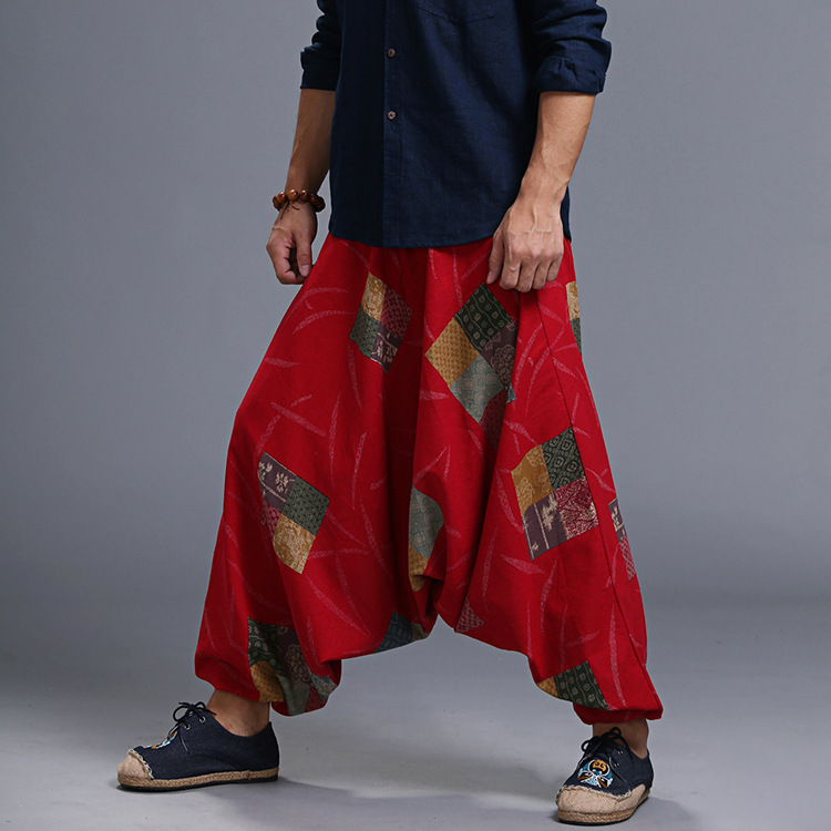 Bohemian Printed Mens Low Crotch Lantern Pants Elastic Waist Loose Harem Costume Wide Leg Trousers Drop Crotch