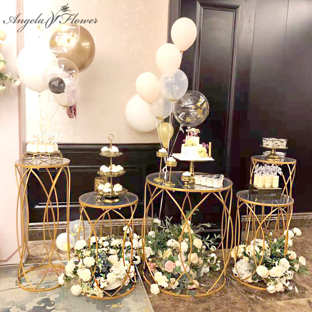 5 PCSงานแต่งงานProps Party Dim Sumเค้กอะคริลิคเหล็กทรงกระบอกโต๊ะPre ฟังก์ชั่นพื้นที่Decorงานแต่งงานกรอบชั้น