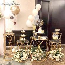 5個の結婚式の小道具パーティー点心ケーキスタンドアクリル鉄円筒デザートテーブル事前機能領域装飾の結婚式フレーム棚