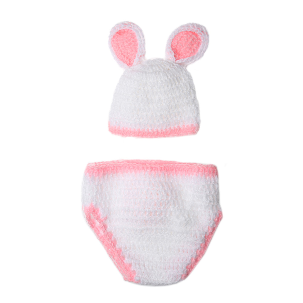 Newborn Baby Photography Prop Hat Pants Set Baby Girls Boys Crochet Knit Costume Lovely Rabbit Ear Photo Photography Set newborn baby photography props infant knit crochet costume peacock photo prop costume headband hat clothes set baby shower gift