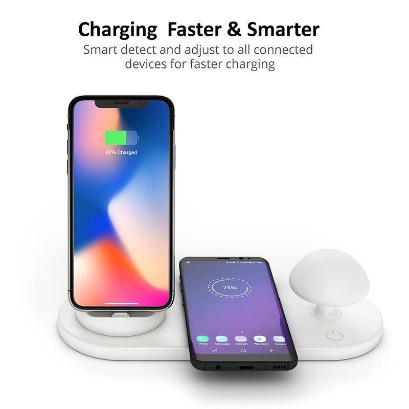 Nouveau Qi chargeur sans fil Multi USB Station de chargement Station de charge lumière de champignon pour ios/Micro/type-c