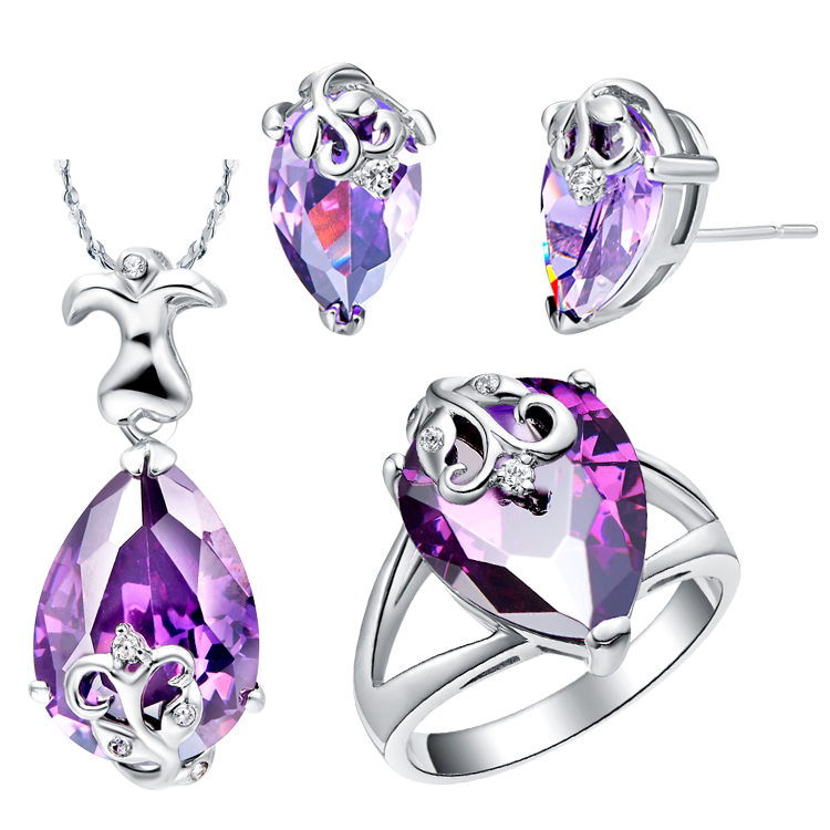 Beautiful Pm Plating Married Jewelry Set,drop-shaped Design Series,purple/blue Crystal,necklace/ring/earrings,suit As A Wedding Gift Crease-Resistance Jewelry & Accessories