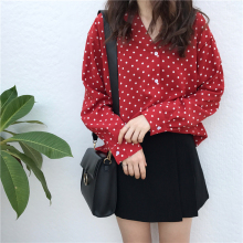 Korean Chic Polka Dot Blouse Shirt Red Vintage Buttons V Neck Autumn Blouse Female Loose Elegant Chiffon Long Sleeve Shirt Women