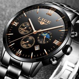 Image 3 - Lige relógio famoso moda masculina relógio de quartzo dos homens relógios de luxo marca superior negócios aço completo à prova dwaterproof água relógio relogio masculino