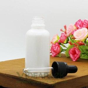 Image 3 - 30ml 50 adet inci beyaz cam pipet şişe cilt bakımı uçucu yağ aromaterapi damlalık ambalaj konteyner alüminyum kapaklı