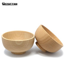 GXYAYYBB 1PC Wood Round Salad Bowl  Kitchen   Children Fruit Rice Soup Bowl Dining Tool Food Containers Lunch Box Kitchen Tool