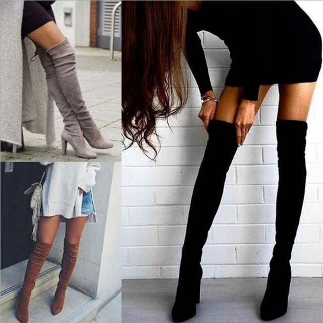 BORRUICE 2019 Sexy Party Boots Fashion Suede Leather Shoes Women Over the Knee Heels Boots Stretch Flock Winter High Boots botas 2